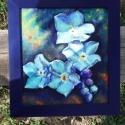 nefelejcs, Képzőművészet, Festmény, Olajfestmény, Szeretem a nefelejcset. Intenzív kékjével szinte megvilágítja az árnyékot... Kerettel 23x25 c..., Meska