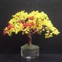 Gyöngyfa sárgában, piros bogyókkal, Dekoráció, Otthon, lakberendezés, Dísz, Tálkával együtt 12 cm magas, szétterülő lombozatú fácska. :-), Meska