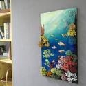 Korallzátony, Dekoráció, Képzőművészet, Kép, Festmény, 49X31 centiméteres egyfajta kollázs, mellyel a tengerfenék színpompáját szerettem volna felidézni. :..., Meska