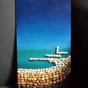 Kavicsok, tenger..., Dekoráció, Képzőművészet, Kép, Vegyes technika, Festészet, Mozaik, 36X20 centiméteres, farostlemezre készített kavicskép Mosmár tudom, mire való az az érdekes nevű és..., Meska