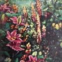 Kert, Képzőművészet, Festmény, Olajfestmény, 47x32 centiméteres keretezett olajfestmény., Meska