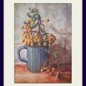 Berkenye pohárban, Dekoráció, Képzőművészet, Kép, Festmény, 20,5X14,5 sm-es kis pasztellkép berkenyével, keret nélkül...ősz van. :-) (A keret virtuális.), Meska