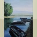 Csónakos II, Képzőművészet, Dekoráció, Festmény, Kép, 39x26-os, keret nélküli olajkép. Közel a Duna...(A keret virtuális.), Meska