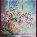 Reggel az ablakban, Dekoráció, Képzőművészet, Kép, Festmény, 25x25 cm-es, keret nélküli kis csendélet, akvarellfesték és viasz használatával készült. (A..., Meska