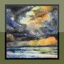 Tenger, Dekoráció, Képzőművészet, Kép, Festmény, 22x22 cm-es kis olajkép. (A keret virtuális.), Meska