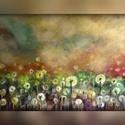 Mező, Képzőművészet, Festmény, A/4-es méretű, keret nélküli olajkép aranyszínű papíron. (A keret virtuális.), Meska