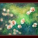 Kis virágok, Képzőművészet, Dekoráció, Festmény, Kép, A/4-es papírra készült olajkép.  (A szélén látható sávban egy kis papírszakadás történt, mely az egy..., Meska