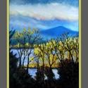 Arany sziget , Képzőművészet, Festmény, A/4-es méretű olajkép vásznon, javított verzió. Keretezést igényel. Kilátás a teraszról, különös fén..., Meska