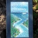Adria, Képzőművészet, Vegyes technika, Mozaikkép, egy utazás emléke....41x25 cm. Kipróbáltam, milyen ha a fúgákat is színezem..., Meska