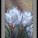 Fehér virágok, Dekoráció, Képzőművészet, Kép, Festmény, A/4-es, porpaszell rajz. Keret nélkül., Meska