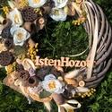 nyári kopogtató, Dekoráció, Otthon, lakberendezés, Dísz, Ajtódísz, kopogtató, Virágkötés, Egy 35 cm-es fonott alapot díszítettem virágokkal, termésekkel. Kitűnő ajándék bármilyen alkalomra. , Meska
