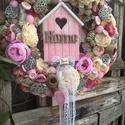 tavaszi rózsaszínke, Dekoráció, Otthon, lakberendezés, Dísz, Virágkötés, A koszorú alapja cirok,átmérője a kész ajtódísznek kb 27-29 cm.Igény szerint minden színben elkészí..., Meska