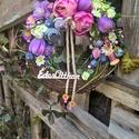 vesszős tavaszi, Dekoráció, Otthon, lakberendezés, Dísz, Egy 20 cm átmérőjű cirok alapra vesszőt dolgoztam,majd selyem virágokkal,gipsz termésekkel,sz..., Meska