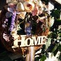 tavaszi levendulás, Dekoráció, Otthon, lakberendezés, Ajtódísz, kopogtató, Koszorú, Egy 20 cm-es cirok alapot vesszővel vontam be, majd erre kerültek a virágok, termések, kerámia ..., Meska