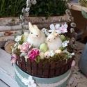 Húsvéti asztaldísz, Otthon, lakberendezés, Dekoráció, Húsvéti díszek, Asztaldísz, Az asztaldísz aljânak àtmèrője kb 23 cm,de nagyobb méretben ès màs színben is rendelhető , Meska