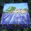Levendulás dobozka, Dekoráció, Otthon, lakberendezés, Mindenmás, Tárolóeszköz, Levendulás dobozka kis apróságok,ékszerek bon-bon tárolására alkalmas.Mérete:12X12X5, Meska
