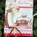 Karácsonyi recept füzet , Mindenmás, Konyhafelszerelés, Receptfüzet, A5 ös méretü karácsonyi recept füzet. Festett,lakkozott felület.Csipkével és fa sdiszekkel d..., Meska