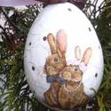 Húsvéti tojás , Dekoráció, Mindenmás, Ünnepi dekoráció, Gobelin, Decoupage, szalvétatechnika, Festészet, Levendulás húsvéti hangulat :) Polisztirol alapra festett repedezett felületű különleges húsvéti to..., Meska