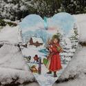 Téli szivecske , Mindenmás, Karácsonyi, adventi apróságok, Karácsonyi dekoráció, Ajtódísz, kopogtató, Decoupage, transzfer és szalvétatechnika, Festészet, Szív alakú karácsonyi táblácska. A táblán 3D minta is megtalálható..A lakás bármely részének tökéle..., Meska