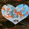 Karácsony az erdőben , Dekoráció, Mindenmás, Decoupage, transzfer és szalvétatechnika, Festészet,  Szív alakú karácsonyi táblácska.A lakás bármely részének tökéletes ünnepi kiegészítője.Adhatjuk aj..., Meska