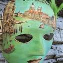 Maszk,álarc Velence , Mindenmás, Otthon, lakberendezés, Itt a farsang és a karnevál ideje. A maszk különbféle technikák ötvözete. Gyönyörű dísze..., Meska