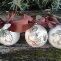 Nosztalgia gömb szett , Otthon, lakberendezés, Mindenmás, Dekoráció, Stiropor gömbre festett 3d hatású repesztett felületű karácsonyi gömb. Tökéletes lehet abla..., Meska