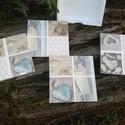 Natur poháralátét szett, Mindenmás, Otthon, lakberendezés, 4 os poháralátét szett tartóval Natur nyári mintával festett :) , Meska