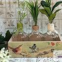 Botanikai láda üveg palackokkal, Dekoráció, Otthon, lakberendezés, Kaspó, virágtartó, váza, korsó, cserép, Asztaldísz, Decoupage, szalvétatechnika, Festett tárgyak, Növényeidet szeretnéd stílusosan gyökereztetni, vagy rendhagyó vázát keresel szálvirágaidnak? Vagy ..., Meska