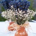 kis cserepes levendula, Dekoráció, Otthon, lakberendezés, Esküvő, Kaspó, virágtartó, váza, korsó, cserép, Virágkötés, Saját termesztésű levendulából kb. 5 cm-es köcsögbe tűzdelve, sóvirággal díszítve. Az ár 1 db termé..., Meska