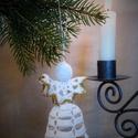 Horgolt angyalka, Karácsonyi, adventi apróságok, Karácsonyfadísz, Karácsonyi dekoráció, A műhelyemben már készülnek a karácsonyi díszek. Ez a horgolt angyalka kiváló dísze lehet az otthoni..., Meska
