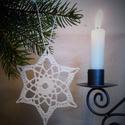 Horgolt csillag 4., Karácsonyi, adventi apróságok, Karácsonyfadísz, Karácsonyi dekoráció, A műhelyemben már készülnek a karácsonyi díszek. Ez a horgolt csillag kiváló dísze lehet az otthoni ..., Meska