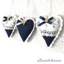 Kékfestő szívek 2 szett egyben (6 db szív), Pamutvászonból varrtam ezeket a kis szíveket, a...