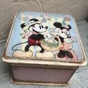 Mickey és Minnie dobozka, Baba-mama-gyerek, Mindenmás, Otthon, lakberendezés, Decoupage, transzfer és szalvétatechnika, Erre a kis dobozkára szintén egy nagy kedvenc került . Legyen kicsi vagy nagy akinek ajándékot kere..., Meska