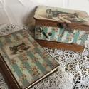 Vintage varrós dobozka + napló, Otthon, lakberendezés, Ezt a dobozkát varrós eszközeidnek készítettem, de persze tárolhatsz benne minden mást is.  A naplót..., Meska