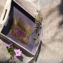 Levendulás tálca, Konyhafelszerelés, Tálca, A natúr fatálca festésénél két, egymással harmonizáló színt használtam, alulra lila, olda..., Meska