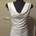 Vízesés nyakú fehér felső, Ruha, divat, cipő, Női ruha, Felsőrész, póló, Varrás, Eladó a képen látható fehér kicsit fényes rugalmas jersey felső. 38-as méret. , Meska