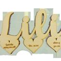 Név születési adatokkal szívben, Baba-mama-gyerek, Dekoráció, Gyerekszoba, Baba falikép, Famegmunkálás, Natúr, 4 mm vastag, rétegelt nyírfából készült fa ajándéktárgy, dekorációs termék. Mérete: 15cm x 1..., Meska