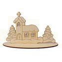 Karácsonyi mécsestartó, téli, havas táj, templom
