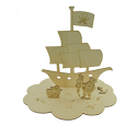 3D Kreatív szett - Kalózos, Baba-mama-gyerek, Dekoráció, Otthon, lakberendezés, Gyerekszoba, Famegmunkálás, Kifestő szett Natúr, 4 mm vastag, rétegelt nyírfából készült fa ajándéktárgy, dekorációs termék. Mé..., Meska