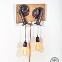 DUPLA AUTÓKÜRT-LÁMPA, loft lámpa, indusztriál loft, indusztriális, lakberendezés, újragondolt, recycle art, Otthon, lakberendezés, Lámpa, Fali-, mennyezeti lámpa, A fő darab eredetileg dupla autó- vagy hajókürtként szolgált. A felületét teljesen újjáépítettem, me..., Meska
