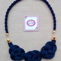 Egyedi, indigo kék, csomózott zsinór nyaklánc, Ékszer, Nyaklánc, Kézzel készített egyedi ékszer. Gyönyörű matt, fényes kombináció. Hétköznapi és alkalmi..., Meska
