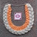 Gyönyörű extra szürke, narancs strasszos gallér nyaklánc, Ékszer, Nyaklánc, Nagyon extra viselet, ha nem szereted az átlagos ékszereket. Világos szürke, narancs, csillogó ..., Meska