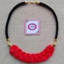 Vaditó piros fekete zsinór nyaklánc, Ékszer, Nyaklánc, Igazán vaditó viselet alkalomra vagy akár hétköznapra. Tűzpiros féket zsinór kombináció., Meska