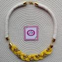Okker sárga, arany, natúr zsinór nyaklánc, Ékszer, Nyaklánc, Egy igazán őszi színek ők összeállított nyaklánc minden alkalomra., Meska