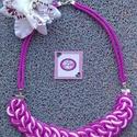 Rózsaszín csomózott nyaklánc, Ékszer, Nyaklánc, Kétféle rózsaszín egyedi csomózott kombinációja., Meska