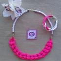Neon pink, fehér csomózott zsinór ékszerszett, Ékszer, Ékszerszett, Nagyon mutatós darab, tökéletesen kiegészítik egymást a feltűnő színek., Meska