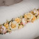 Fejpánt, menyasszonyi koszorú, pocakpánt, Esküvő, Virágkötés, Mindenmás, Minőségi selyemvirágokból készítettem ezt a pántot.Drótos alapon, szalaggal köthető.Díszítés mérete..., Meska