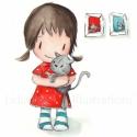 Cicával - aláírt, dátumozott nyomat, Képzőművészet, Illusztráció, Festészet, Fotó, grafika, rajz, illusztráció, Mi kutyás család vagyunk. Nem csoda, hogy a kislányom bele van zúgva a macskákba, az összesbe. Miko..., Meska