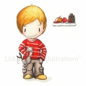 Vadászgörényes fiú - aláírt, dátumozott nyomat, Képzőművészet, Illusztráció, Festészet, Fotó, grafika, rajz, illusztráció, Ismered ezt a kis csibészt? Ő az, akinek mindig sáros és szakadt a nadrágszára és a hátizsákjában m..., Meska