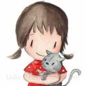 Cicával (nagy) - aláírt, dátumozott nyomat, Képzőművészet, Illusztráció, Fotó, grafika, rajz, illusztráció, Festészet, Ez a kép a nagyított változata a cicás kislánynak, aki nagyon hasonlít az én gyerekemre.   Technika..., Meska